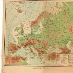 Europa - harta Fizica si politica (Fata - verso) 1961
