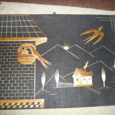 Tablou handmade cu pasari in zbor, ideal pentru colectionari, UNICAT! - Tablou autor neidentificat, Animale, Fresca, Altul