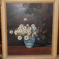 Vas cu flori, pictat interbelic, ulei, provenind din Bucovina, de dimensiuni mari - Pictor strain