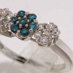 Superb inel aur alb 14K cu diamante naturale albe si bleu 0, 63CT, 46 - 56