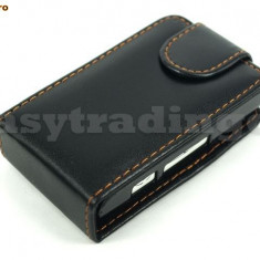 husa neagra piele flip + folie  sony Ericsson x10 mini expediere gratuita
