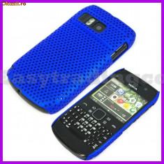 husa albastra mesh silicon rigid Nokia E6 + folie protectie ecran + expediere gratuita