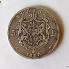 MONEDA ARGINT, 5 LEI 1880 / KULLRICH SUB GAT / MUCHIE ZIMTATA - Moneda Romania