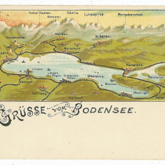 2519 - Germania - L I T H O - BODENSEE ( Lacul Constanta ) - old postcard - used