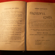O.Minar - Filozoful Conta -Opere Compecte -Prima editie- 1910 - Carte Filosofie