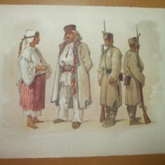 Preziosi Plansa color tipuri bucurestene 2 costume populare 2 militari Reducere 10 % - Carte de colectie