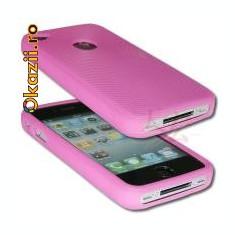 husa protectie roz iphone 4 expediere gratuita + folie protectie ecran