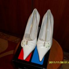 PANTOFI piele albi MIREASA - Pantof dama, Marime: 36.5