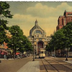 Ilustrata Anvers cu stampila reclama SABENA