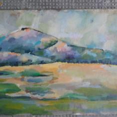 Pictura veche pe carton 7, peisaj foarte frumos cu dealuri, Peisaje, Ulei, Impresionism