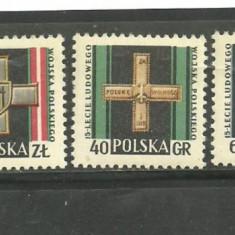 Polonia 1958 - DECORATII MILITARE, serie nestampilata B216 - Timbre straine, Europa