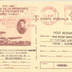 CP intreg postal aerofilatelie Zbor omagial Bucuresti - Viena, stampila mecanica