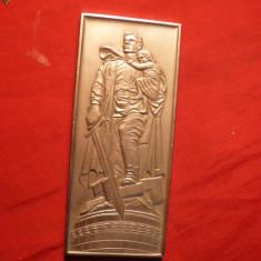 Placheta - Monument de Razboi ,metal argintat