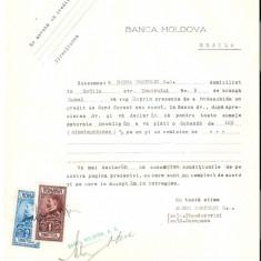 72 Document vechi fiscalizat-9aprilie1929-Banca Portului SA Braila, solicita imprumut de la Banca Moldova Braila-pe verso Conditiuni - Pasaport/Document