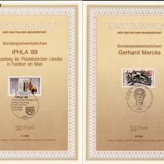 MAXIME GERMANIA ;PRIMA ZI. GERHARD MARCS, SI FILATELIE IN FRANKFURTH PE MAIN  BONN 1989 MAXG 117
