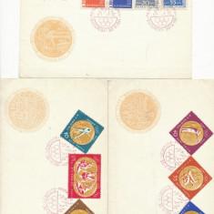 RFL Romania RPR 1961 set 3 plicuri FDC Medalii Olimpice - seria dantelata - Plic Papetarie