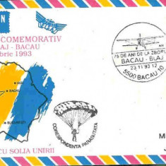Plic special aerofilatelie - 75 de ani de la zborul cu solia Unirii Bacau - Blaj - coresp. parasutata