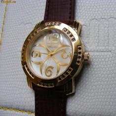 CEAS de LUX  - NOCTUM  Agnellus Gold , placat cu aur , 32 diamante negre !, Lux - elegant, Quartz