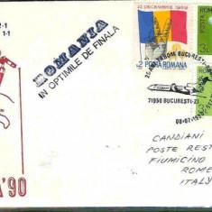 Plic special aerofilatelie - 25 de ani TAROM Bucuresti - Roma, Romania in optimile de finala, Italia 90