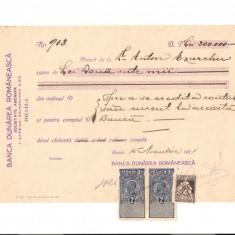 139 Document vechi fiscalizat-15noe1921-Chitanta de la Banca Dunarea Romaneasca, Societate Anonima, Braila, catre Anton Exarchu - Pasaport/Document