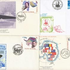 RFL 1987-1993 ROMANIA lot de 8 plicuri cu tematica polara - fauna, navigatie, exploratori - Plic Papetarie