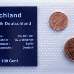 5.309 GERMANIA SET 3 MONEDE UNC IN FOLDER 1, 2, 5 EUROCENTI 2002 A, Europa