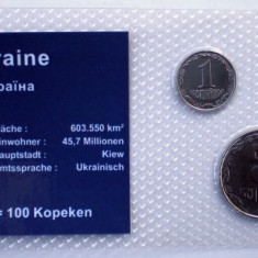 5.323 UKRAINA SET 3 MONEDE UNC IN FOLDER 1, 2, 5K 2008, Europa