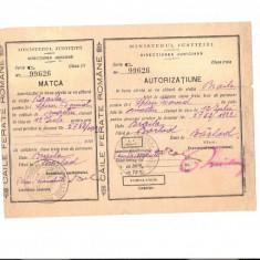 160 Document vechi -12iul1922-Autorizatiune Caile Ferate Romane, emisa de Ministerul Justitiei, pt.Spiru David(grec?), Braila prez.ca martor, la Barlad, Documente