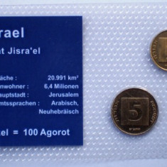 5.302 ISRAEL SET 3 MONEDE UNC IN FOLDER 1, 5, 10 AGOROT, Asia