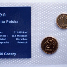 5.317 POLONIA SET 3 MONEDE UNC IN FOLDER 1G 2004, 2G 2003 5G 2005, Europa
