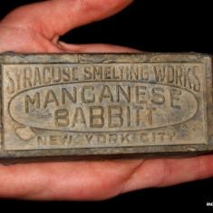 RARITATE! FRAGMENT LINGOU SYRACUSE SMELTING WORKS - MANGANESE BABBIT - NEW YORK! - Metal/Fonta