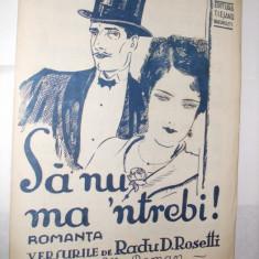 Partitura:  SA  NU MA `NTREBI - muzica:Elly Roman, versuri: Radu D. Rosetti