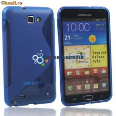 Husa  albastra Samsung Galaxy Note i9220 + folie ecran + expediere gratuita