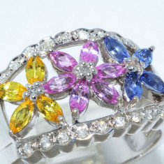 Superb inel aur alb 14K safire multicolore si diamante naturale 1.49CT, 6.21gr, 46 - 56