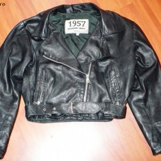Jacheta / geaca piele, neagra, vintage, 1957 Legendary Jacket, scurta, marimea M - MODEL IN TREND!!!! - Geaca dama