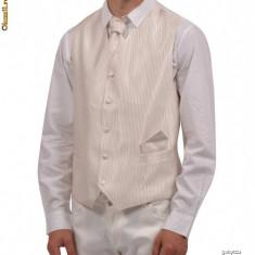 Vesta eleganta ivory - ivoire pentru mire + lavaliera. - Vesta barbati