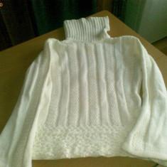 Helanca pulover pe gat dama femei fete pt iarna marimea 42 L alba crosetata - Helanca dama, Bumbac