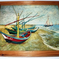 Tablou / fotografie dupa pictura Boats at Les Saintes-Maries semnata de Van Gogh - Reproducere
