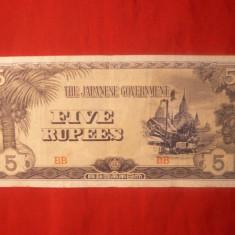 Bancnota 5 Rupii Birmania ocup. japoneza - bancnota asia