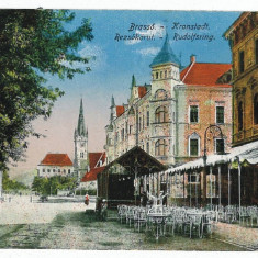 2081 - BRASOV, terasa, berarie - old postcard, used - cenzura germana - 1917