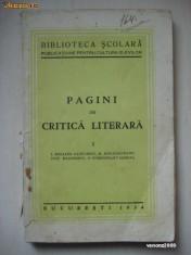 PAGINI DE CRITICA LITERARA {1934}