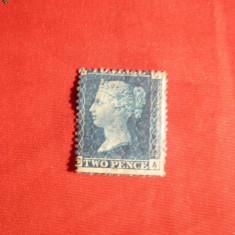 Timbru 2 Centi Anglia ,Regina Victoria 1858 ,nestamp.cu sarn.
