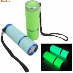Lanterne fosforescente glow in the dark cu 9 leduri, lumineaza 6-8 h in intuneric - Lanterna