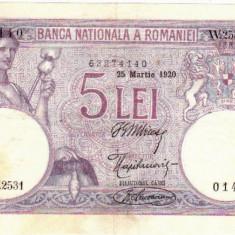 * Bancnota 5 lei 1920 - Bancnota romaneasca