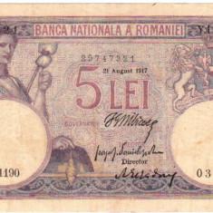 * Bancnota 5 lei 1917 - Bancnota romaneasca
