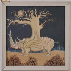 Pictura , ulei pe lemn , semnata , dim. 35 x 35 cm