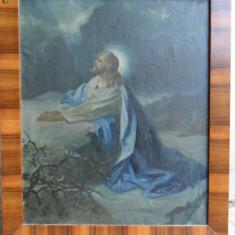 Isus rugandu-Se, pictura religioasa veche in ulei pe panza, Religie, Realism