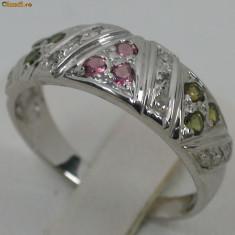 Verigheta / inel aur alb 14K turmaline si diamante naturale 0, 53CT ocazie