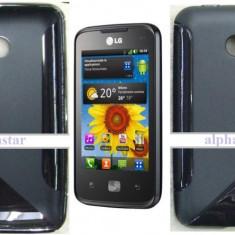 HUSA Silicon, FOLIE - - LG OPTIMUS HUB E510 - Husa Telefon LG, Universala, Negru