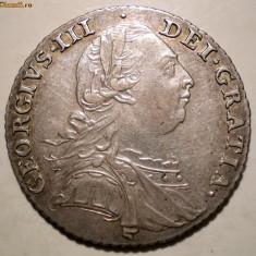 G.005 MARE BRITANIE GEORGE III 1 SHILLING 1787 ARGINT 6g - Moneda Medievala, Europa